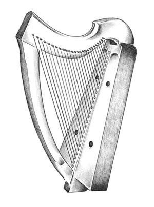 drawing of a harp